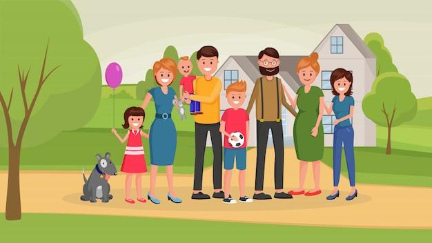 Famiglia vacanze estive piatte