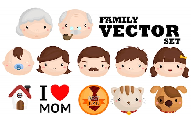 Famiglia vector set