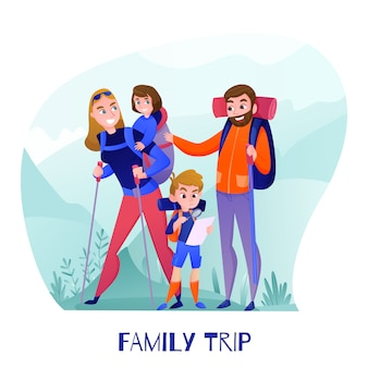 Famiglia viaggiatori genitori e bambini con attrezzatura turistica e mappa durante le escursioni in montagna