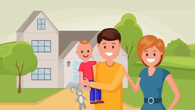 Famiglia vicino alla casa