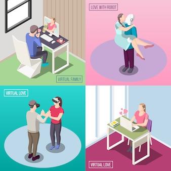 Famiglia virtuale elettronica amore relazione umana e robot