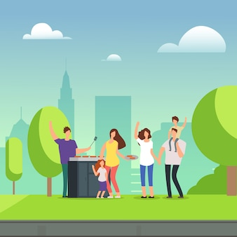 Famiglie del personaggio dei cartoni animati che riposano sul picnic del bbq in parco