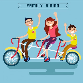 Family biking. famiglia in sella a una bicicletta. bicicletta tripla. bicicletta tandem. famiglia felice. stile di vita moderno.
