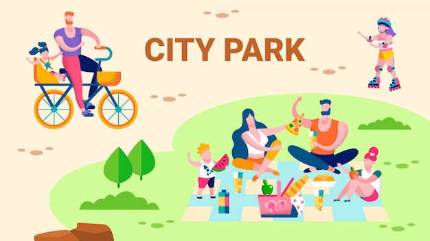 Family recreation in city park promo flat