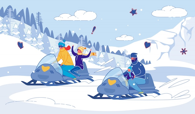 Family snowmobile winter races joy with children.