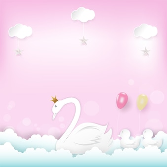 Family swan princess con palloncini