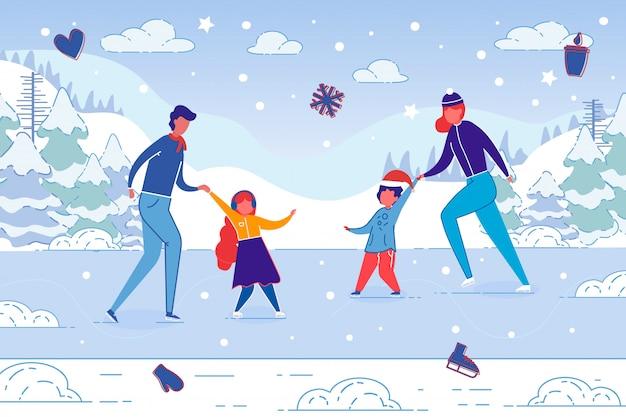 Family winter fun pattinaggio su ghiaccio