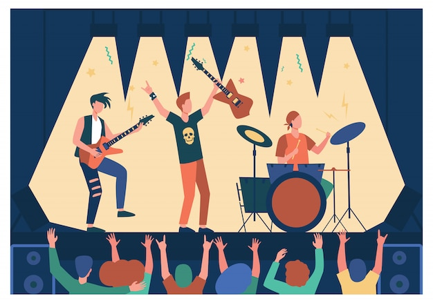 Famosa rock band che suona musica e canta sul palco
