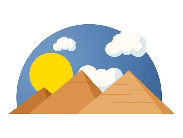 Famose piramidi egiziane sotto il sole e il cielo blu