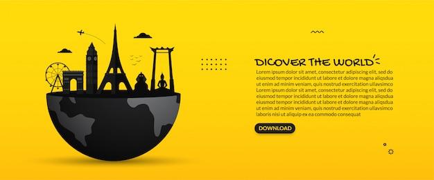 Famosi monumenti di viaggio intorno al mondo sulla terra, scopri lo sfondo del mondo