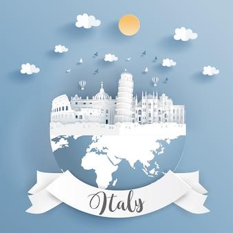 Famoso punto di riferimento mondiale d'italia sulla terra.