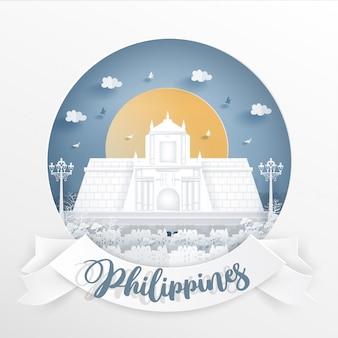 Famoso punto di riferimento mondiale delle filippine con cornice bianca ed etichetta