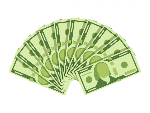 Fan delle banconote del dollaro. banconote in valuta verde. concetto di vettore di investimento