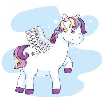 Fantasia di unicorno carino con le ali