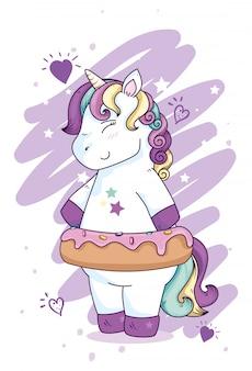 Fantasia unicorno carina con decorazione a stelle e cuori