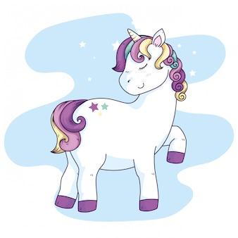 Fantasia unicorno carina con decorazione a stelle