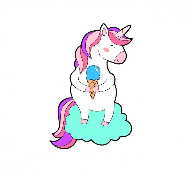 Fantasia vettoriale isolato unicorno