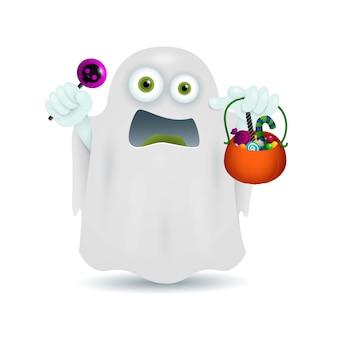 Fantasma con scodella di caramelle