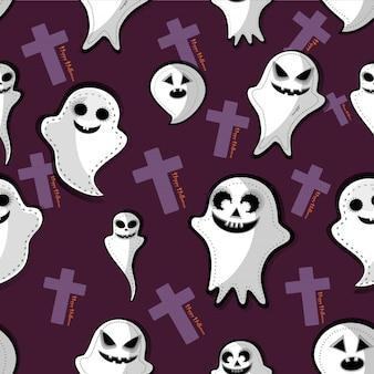 Fantasma di contorno felice halloween. design piatto sfondo bianco vettoriale.