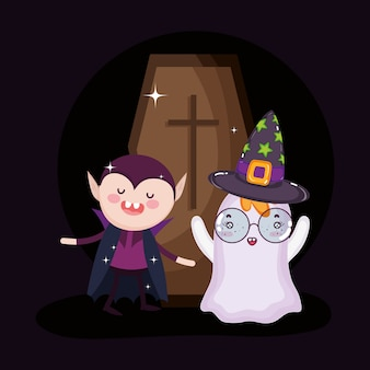 Fantasma di dracula e bara halloween