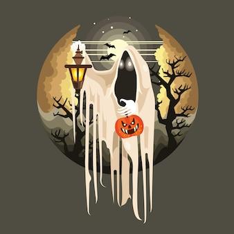Fantasma di halloween con carattere di lanterna