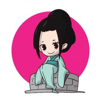 Fantasma giapponese cosplay carino. personaggio di halloween. i giapponesi credono.