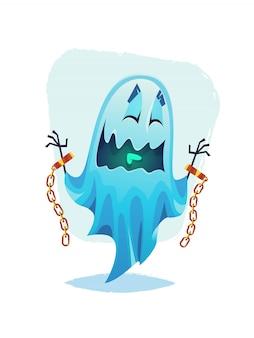 Fantasma sorridente divertente con le braccia incatenate illustrazione di halloween del fumetto