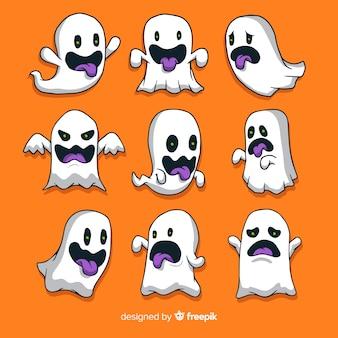 Fantasmi di halloween disegnati a mano che fanno raccolta di facce