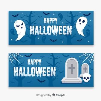 Fantasmi e banner di halloween piatti morti