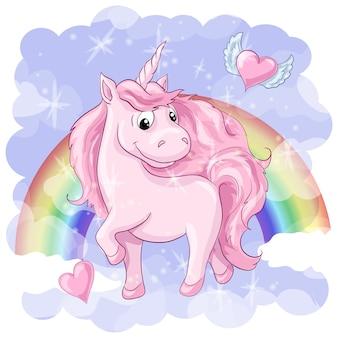 Fantastica cartolina con unicorno, arcobaleno e cuori