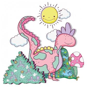 Fantastica creatura drago con cespugli e sole