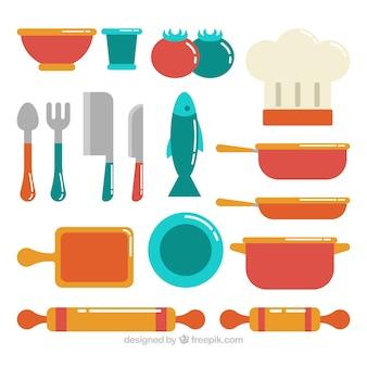 Fantastica varietà di oggetti chef