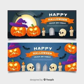 Fantastici banner di halloween con design piatto