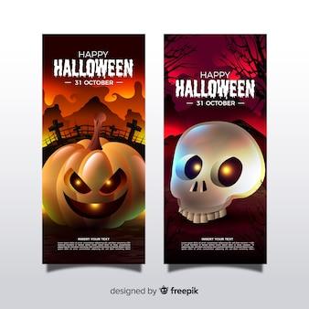 Fantastici banner di halloween con un design realistico