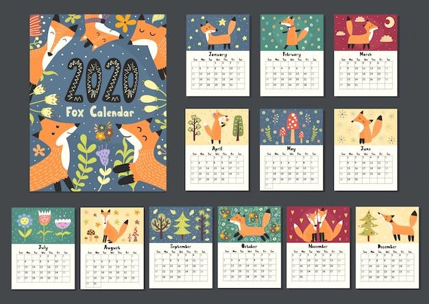 Fantastico calendario volpe per il 2020 anno