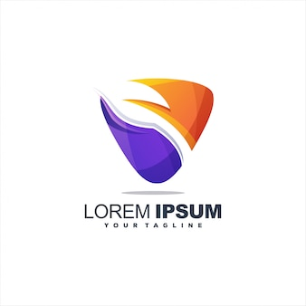 Fantastico design del logo con foglie sfumate