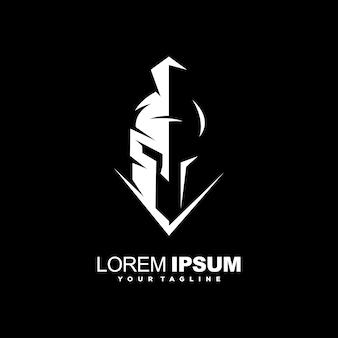 Fantastico design del logo del casco spartano