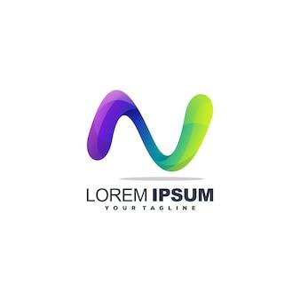 Fantastico design del logo della lettera n.
