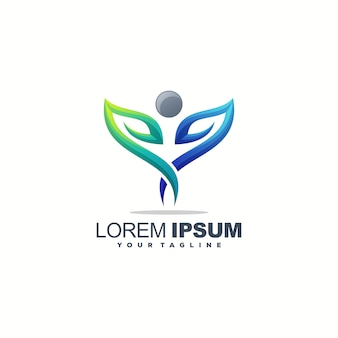 Fantastico design del logo foglia umana