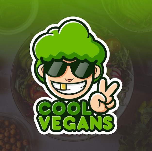 Fantastico design del logo mascotte vegano