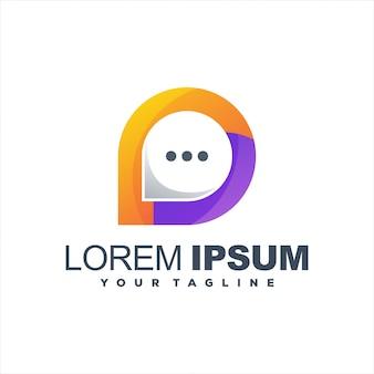 Fantastico design del logo sfumato di chat