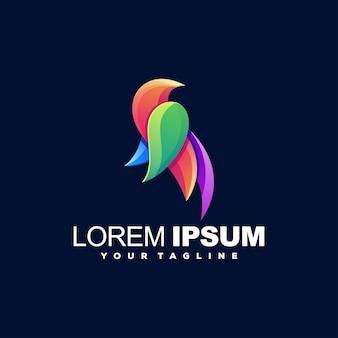 Fantastico design logo color uccello