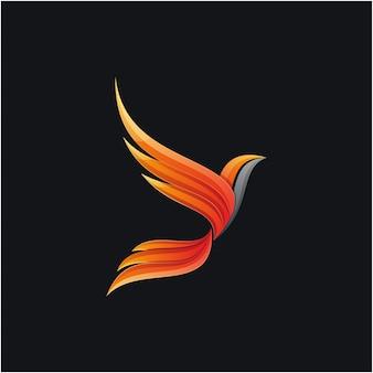 Fantastico design logo fenice colorato