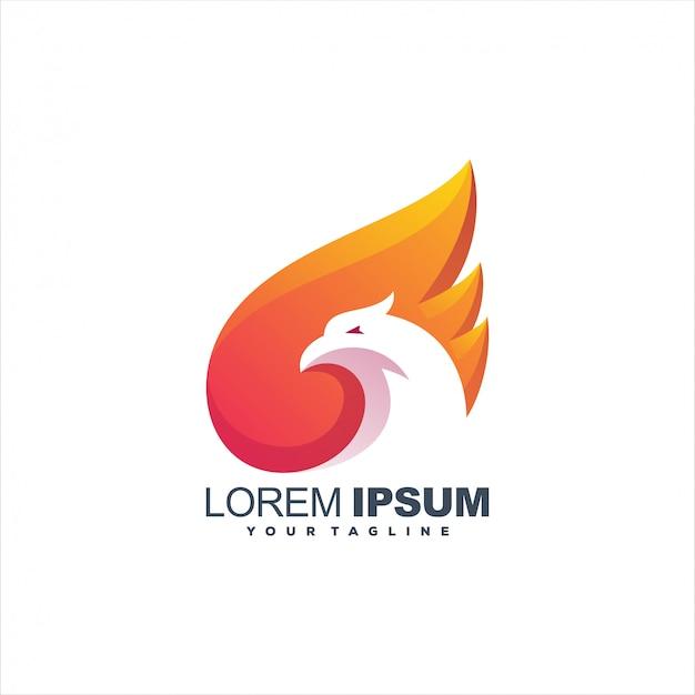 Fantastico design logo fenice fiamma