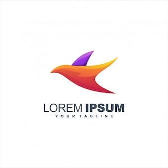 Fantastico design logo uccello sfumato