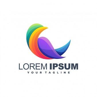 Fantastico design moderno con logo a colori di uccelli