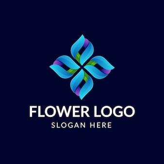 Fantastico logo con fiori colorati