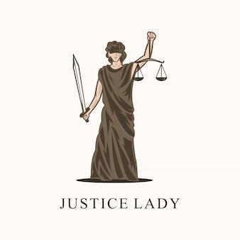 Fantastico logo della signora della giustizia