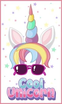 Fantastico logo di unicorno in colori pastello con graziosi coriandoli di unicorno e stelle