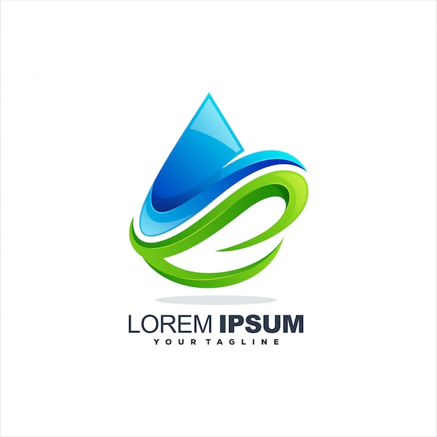 Fantastico logo goccia d'acqua